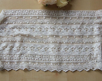antique lace trim in beige,cotton embroidery gauze lace trim, wedding veil lace trim