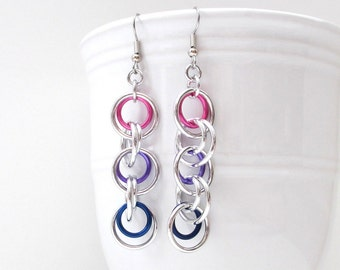 Bi pride jewelry, chainmaille earrings