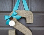 Spring Monogram Wreath. Farmhouse Style Jute Letter.