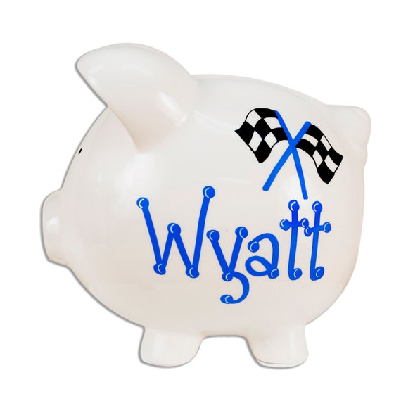 Personalized ceramic piggy banks hand painted for by mybambino - Ceramic piggy banks for boys ...