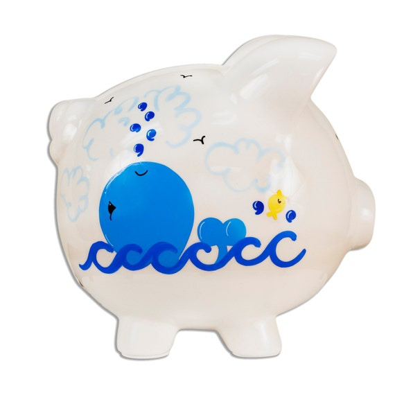 Hand painted personalized ceramic whale piggy bank for baby - Nautical piggy banks ...