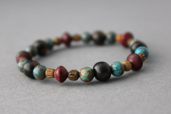 blue jasper bracelet  wood bone and jasper  ebony purple blue brown elasticated stacking bracelet boho bracelet