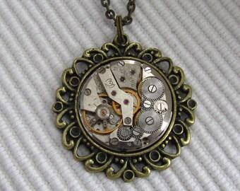 Steampunk  Statement Necklace  Pendant Birthday Gift Clockwork Industrial Jewelry Gift for Her Birthday gift Women gift ideas