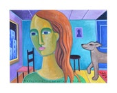 Original 30x40 painting the Day Unconditional Love Walked in the Door by Elizabeth Rosen