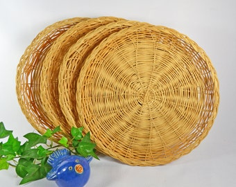 Wicker Paper Plate Holders....Set of 4 Vintage Paper Plate Coasters / Multi Sets Available