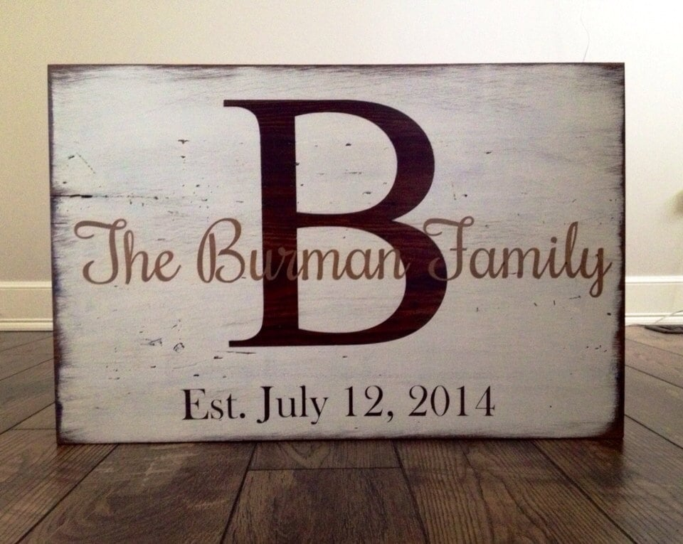 painted barn wood sign personalized with last name by