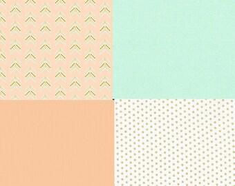 Baby Bedding Crib Quilt and Crib Skirt Arrows Metallic Gold Premium Prints