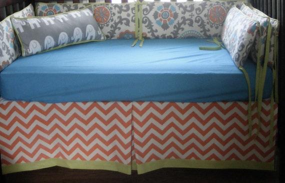 Items similar to Baby Bedding Crib Set Quilt Orange