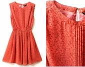 Coral Red Dress - 80s, printed, pin tucks, tiny leaves, casual, day dress, medium, US 6 - 8, UK 12