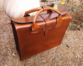 """Leather Brief Case - Genuine Leather Handmade  """"The Honey Bear Deluxe II Huge"""" Brown"""