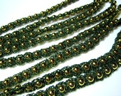Crocheted Bead Christmas Tree Garland with Gold Beads and Green Cotton with Gold Flecks - Green and Gold Christmas Garland