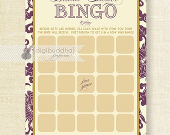 "Plum & Gold Bridal Shower Bingo 5x7"" Shabby Chic Purple Plum Gold Bridal Shower Game Card 5x7 Printed Game Cards - Jackie"