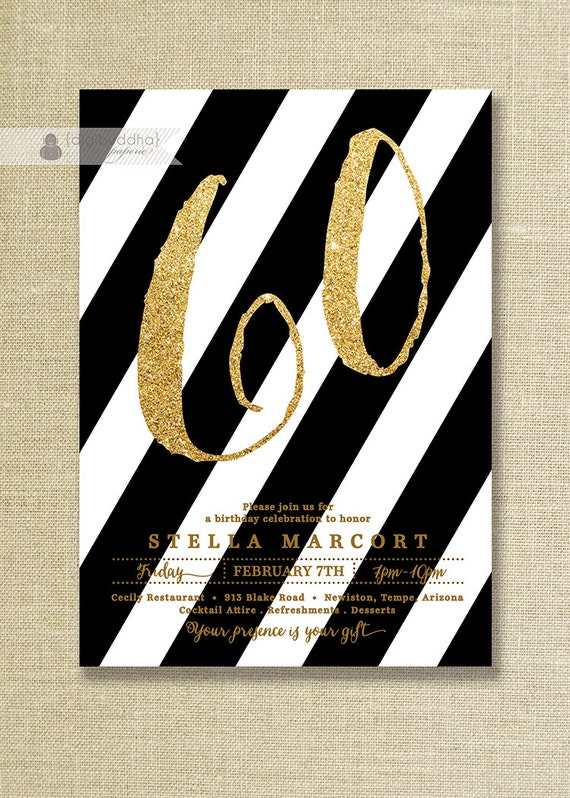 Black & Gold Birthday Party Invitation Stripes Glitter Black