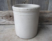 Antique Original Stoneware Crock Pottery Brown & White Storage Container Old Butter Cheese Dry Goods Country Kitchen Primitive Rustic