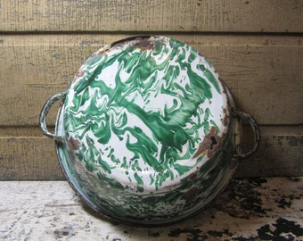 Rare Antique Enamelware Bowl 1800s Old Vintage Green Double Handled Wash or Mixing Swirl Graniteware Enamelware Country Kitchen Primitive