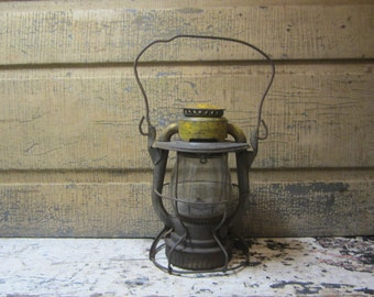 Antique Old Time Lantern Rustic Painted Yellow Naturally Aged Caged Light Caged Lamp Industrial Railroad Rail Road Light Industrial Dietz