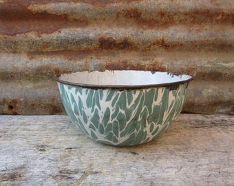 Antique Enamelware Mixing Bowl Cooking Ugly Sea Green and White Swirl 1800s Graniteware Lid Country Kitchen Rustic Wedding Decor vtg Vintage