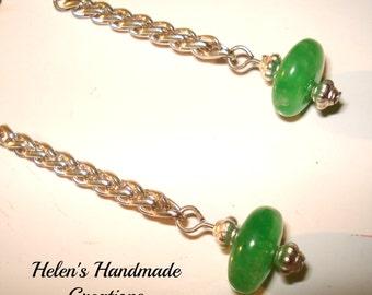 green quartz long earrings