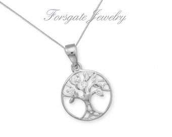 GIRL'S X-Small Rhodium Plated CZ Tree of Life Pendant with Chain / Necklace for Women and Girls - 925 Sterling Silver - 15 16 18 20 inch