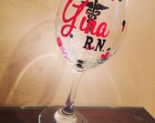 Personalized Nurse Wine Glass