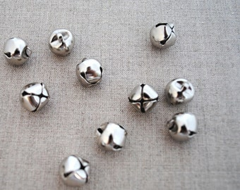 Silver tone bells, pack of 10, 1cm, Christmas craft