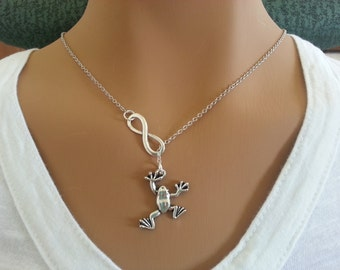 Infinity and Frog Lariat Necklace