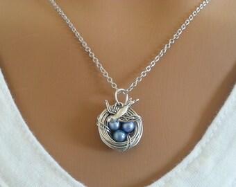 Blue Freshwater potato  Pearl Bird's Nest Necklace