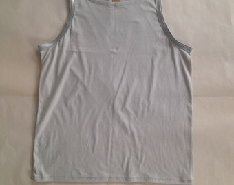 Tank Top, Grey Faux Crocodile Leather, Large