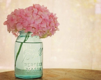 Pink Hydrangea Photo Gallery Wrapped Canvas Farmhouse Photography Aqua Turquoise Mason Jar Floral Country Rustic Wall Art Home Decor