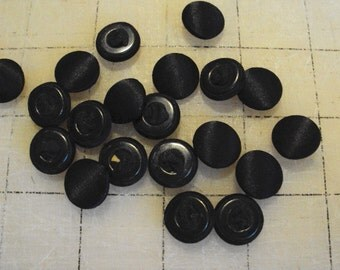 Black satin covered buttons--retro