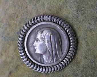Antique Religious Medallion, Religious jewelry, Lourdes Souvenir medal, Catholic gifts, Pilgrimage Medal, Saint Bernadette