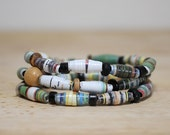 Natural Green Recycled Paper Bead Bracelet Set Made From Book Pages