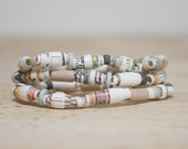 Brown and Olive Gree Recycled Book Bead Paper Bracelet Set Made With Recycled Book Pages