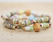 Wind In The Willows Book Paper Bead Bracelet Set, Made From Recycled Book Pages, Book Lover Gift, Teacher Gift