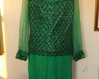 Sequin SALE  50% off!  Elphaba Would Be Proud/Vintage Green Dress with Vest/1960