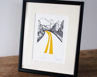 Father's Day print, Country Road Print, Yorkshire - Limited edition gocco screen print