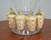 LAST CHANCE - Mid Century West Germany Mercury Glass Gold Ornaments - Set of 6