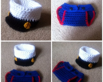 Crochet Marine Outfit (Hat and Diaper Cover)