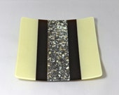 Fused Glass Plate, Brown and Vanilla River Rock Fused Glass Dish