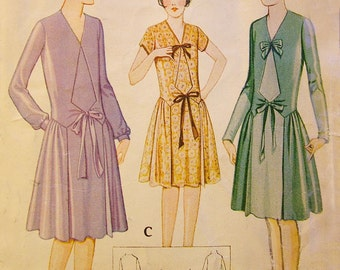 1920s Style Tie Front Drop Waist Full Skirt Dress Custom Made in Your Size From a Vintage Pattern