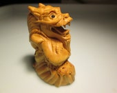 netsuke tortem hand carved GOOD FORTUNE DRAGON-2 heavy detailed carving cherry stain on birch wood 2 inches very collectible