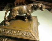 Vintage, box, bronzed  tiger, wood box,  coin tray, desk accessory from 1920's art Nouveau  stamped 419