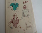 Vintage 1940s Butterick Sewing Pattern 2475 Womens and Misses' Jacket Blouse Size 16 Bust 34