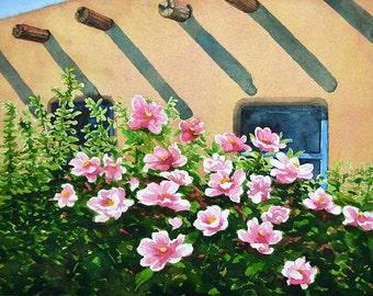 watercolor ORIGINAL Morning Shadows pink flowers southwest watercolour
