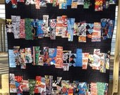 """Ready to Ship! Marvel DC Comic Heroes """"Comic Strips"""" Handmade Quilt Baby Lap Throw size"""