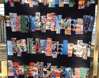 "Ready to Ship! Marvel DC Comic Heroes ""Comic Strips"" Handmade Quilt Baby Lap Throw size"