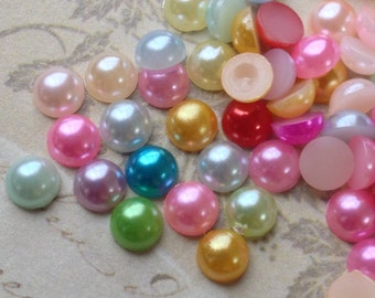 5 mm Light Color Flat Back Pearl Cabochons of Assorted Colors (.mmsu)