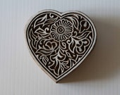 Heart Stamp - Wood Block Printing Hand Carved Indian Style Heart Floral Pattern