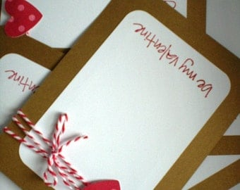 Valentines Day Cards set of 12 with Envelopes-Hearts and Be My Valentine