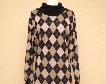 1980s Vintage Argyle Oversized Sweater - Black Ivory and Metallic Gold Lurex - Size Large XLarge